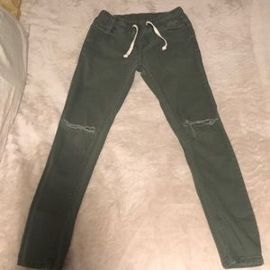 Slit knee olive green Stretchy Jeans
